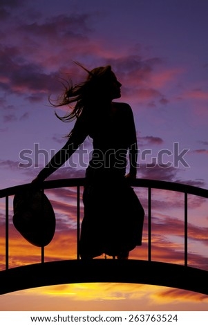 A silhouette of a woman in her skirt holding a hat, standing on a bridge. - stock photo