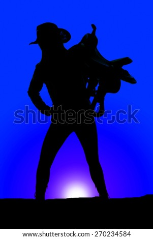 A silhouette of a woman with her cowgirl hat on and her saddle on her shoulder. - stock photo