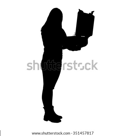 A silhouette of young woman in pants and short boots standing with her feet together and holding and looking into a weather proof briefcase.