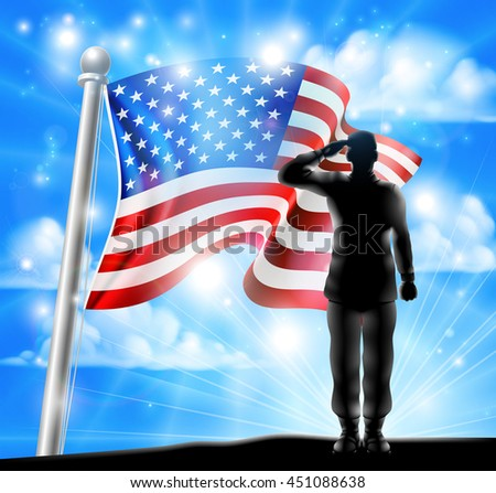A silhouette soldier saluting with American Flag in the background, design for Memorial Day or Veterans Day - stock photo