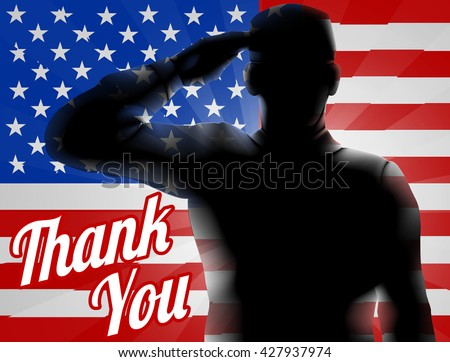 A silhouette soldier saluting with American Flag in the background with Thank You, design for Memorial Day or Veterans Day - stock photo