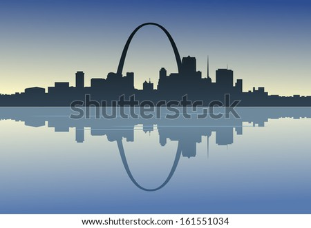 A silhouetted view of downtown St. Louis, Missouri. - stock photo