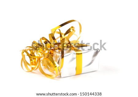 A silver colored gift box with a yellow ribbon, on a white background