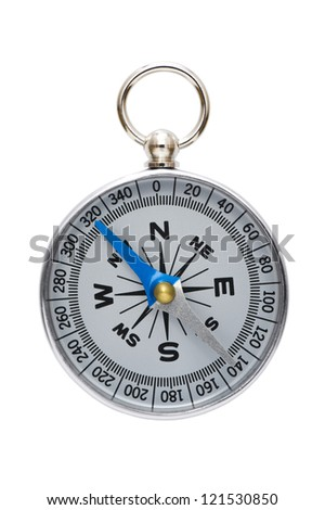 a silver compass isolated on white background - stock photo