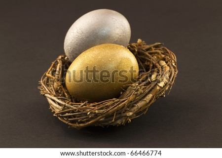 A silver egg and a gold egg paired in a twig nest are a representation of the careful diversification needed in a modern investment account
