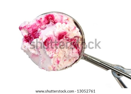 A silver ice cream scoop filled with berry ice cream.  Isolated on white. - stock photo