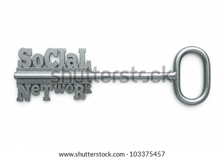 "a silver key with words ""social"" and ""network"" as a concept"