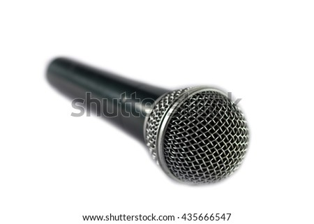 A silver microphone isolated on white background