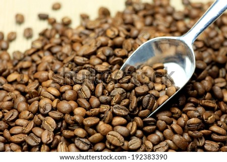 A silver scoop in a variety of dark brown coffee beans. - stock photo