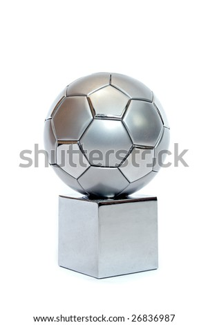 A silver soccer trophy. All on white background. - stock photo