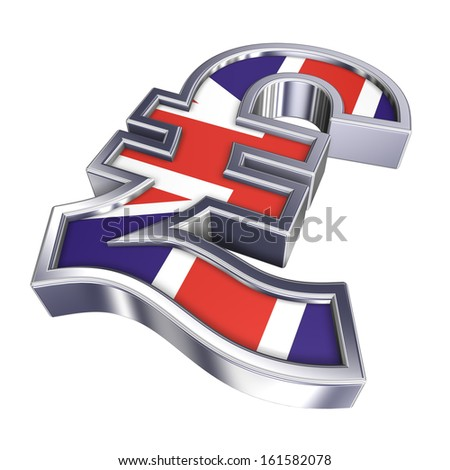A silver Sterling Pound symbol with flag isolated over white. 3D photo rendering. - stock photo