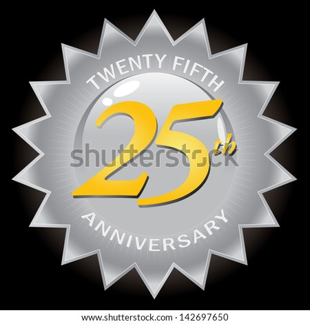 A silver twenty fifth 25th anniversary seal logo isolated over a black background.  This vector image is easily customized to suit your needs. - stock photo