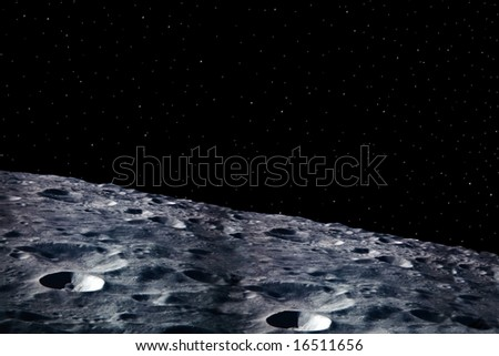 a simple background of the moon surface and stars at night in the sky of our own universe - stock photo