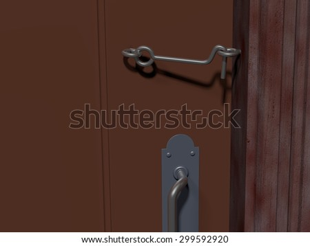 A simple cabin hook latch holding a brown door closed. Rendered 3d design.