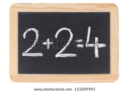 A simple calculation on a blackboard at school
