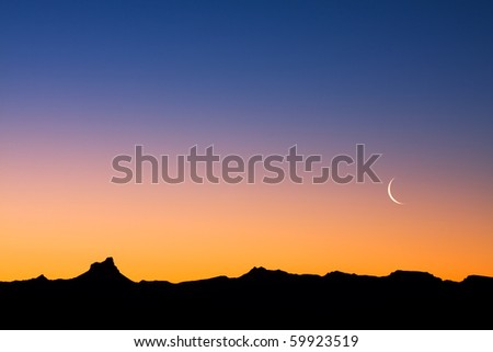A Simple Desert Landscape After Sunset With Plenty Of Copy Space