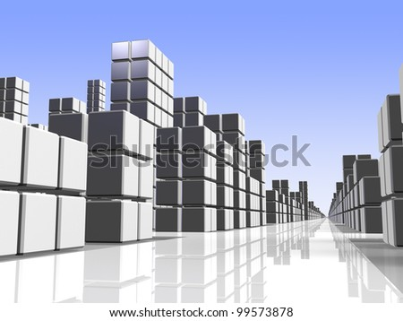 A simple illustration that represents the urban landscape. This is a computer generated image. - stock photo