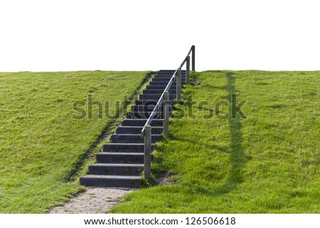 A simple staircase direct the way forward on a small hill into the white Nothing, which could be used for any digital addition or composition.