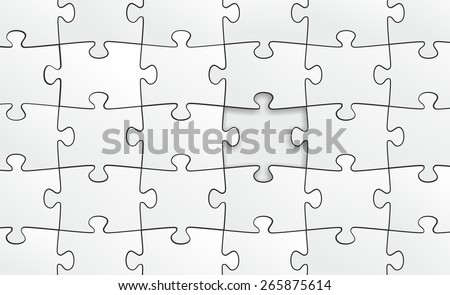 a simple template with many puzzle pieces - stock photo