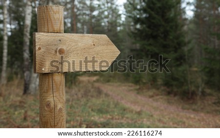 A simple wooden trail sign for hikers in forest in Europe - stock photo