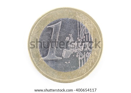 A singe one euro coin isolated on a white background