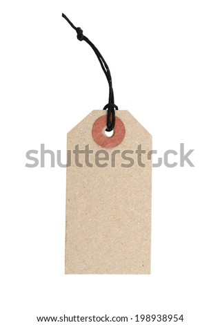 A single blank tag isolated white - stock photo