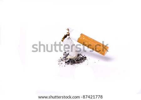 A single broken cigarette butts and ash  on white background - stock photo