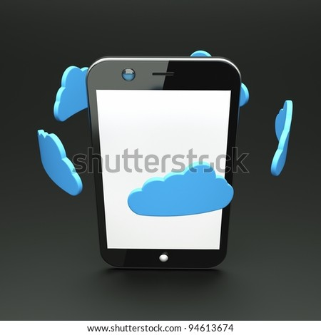 a single cellphone with blue clouds on grey - stock photo