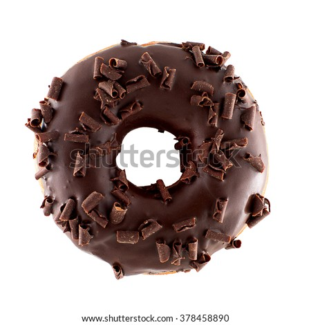 A single chocolate glazed donut with chocolate chips isolated white background top view - stock photo
