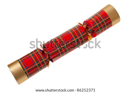 A single chrismas cracker on a white isolated background - stock photo