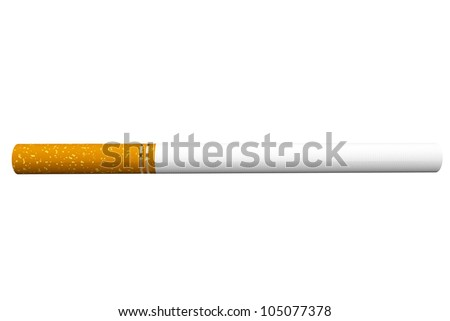 A single cigarette on a white background - stock photo