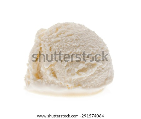 A single coconut ice cream scoop from the front isolated on a white background