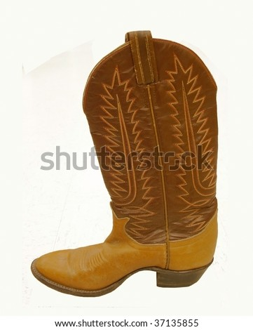 A single cowboy boot, isolated on white - stock photo