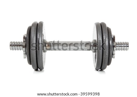 A single dumbbell on a white background - stock photo