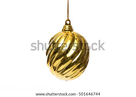 A single gold christmas ball ornament on white background.