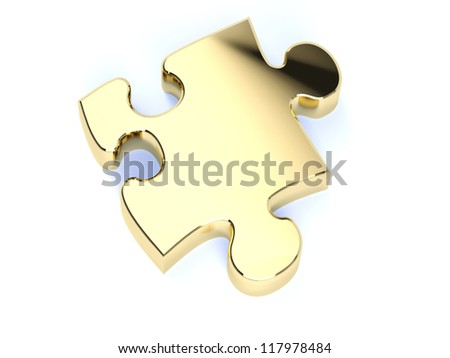A single gold jigsaw puzzle piece - stock photo