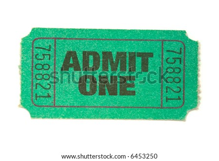 "A single green ""admit one"" ticket on white background"