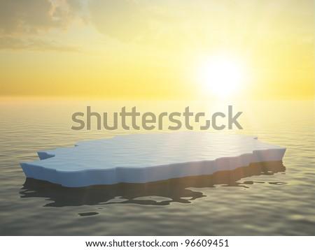 A single ice floe sunset scene - stock photo