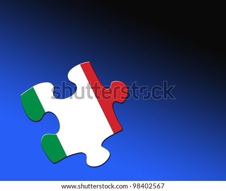A single jigsaw piece filled with flag of Italy.