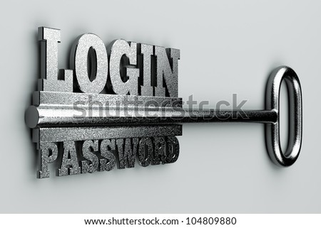 "a single key with two words ""login"" and ""password"" as a concept - stock photo"