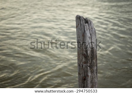 A single old stump standing in lake.