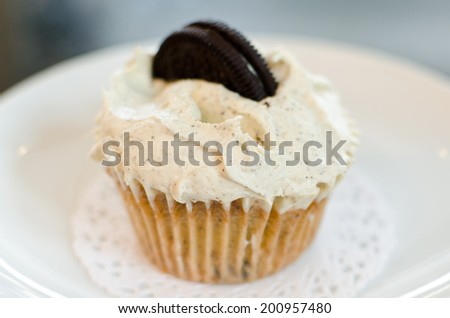 A single Oreo cupcake - stock photo