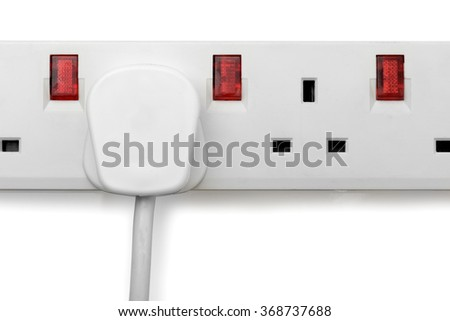 a single plug in a plug bar isolated on a white background - stock photo