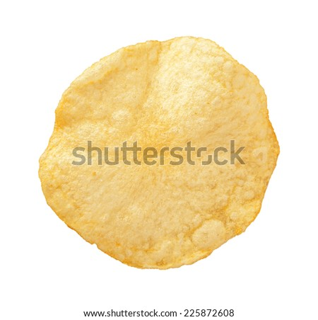 A single Potato Chip isolated on a white background. A salty snack associated with parties, and watching sporting events. It falls into category of one of Americas favorite junk foods. - stock photo