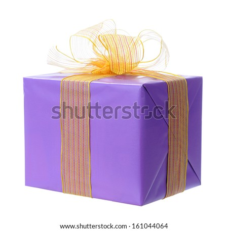 A single purple Holiday gift box isolated on white - stock photo