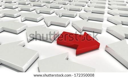 A single red arrow opposing many white arrows - stock photo