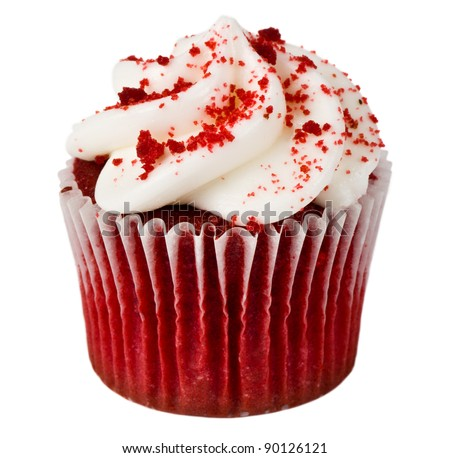 A Single Red Velvet Cupcake on White (Isolated) - stock photo
