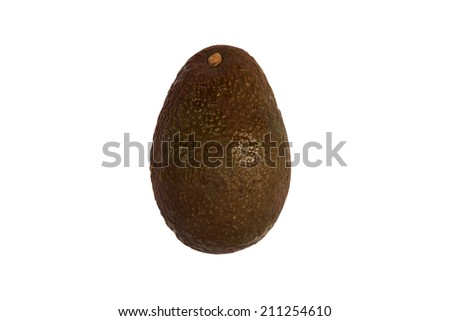 A single ripe avocado isolated against a white background with a clipping path. - stock photo