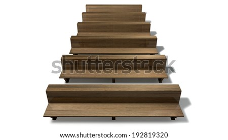 A single row of wooden church pews on an isolated white background