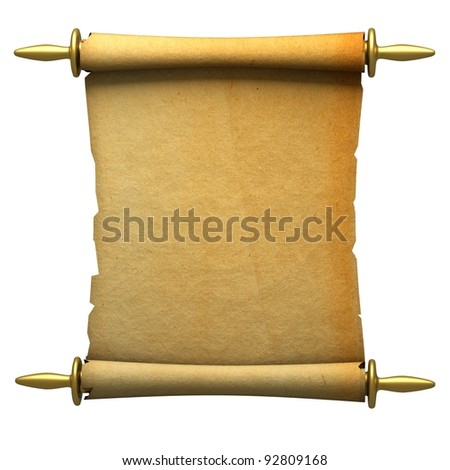 a single scroll isolated on white - stock photo